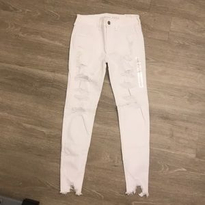 American Eagle distressed white jeggings